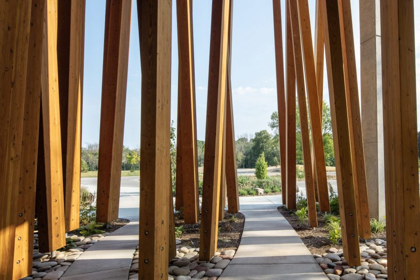 Timber wraps the museum's facade