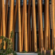 Timber strips wrap the museum
