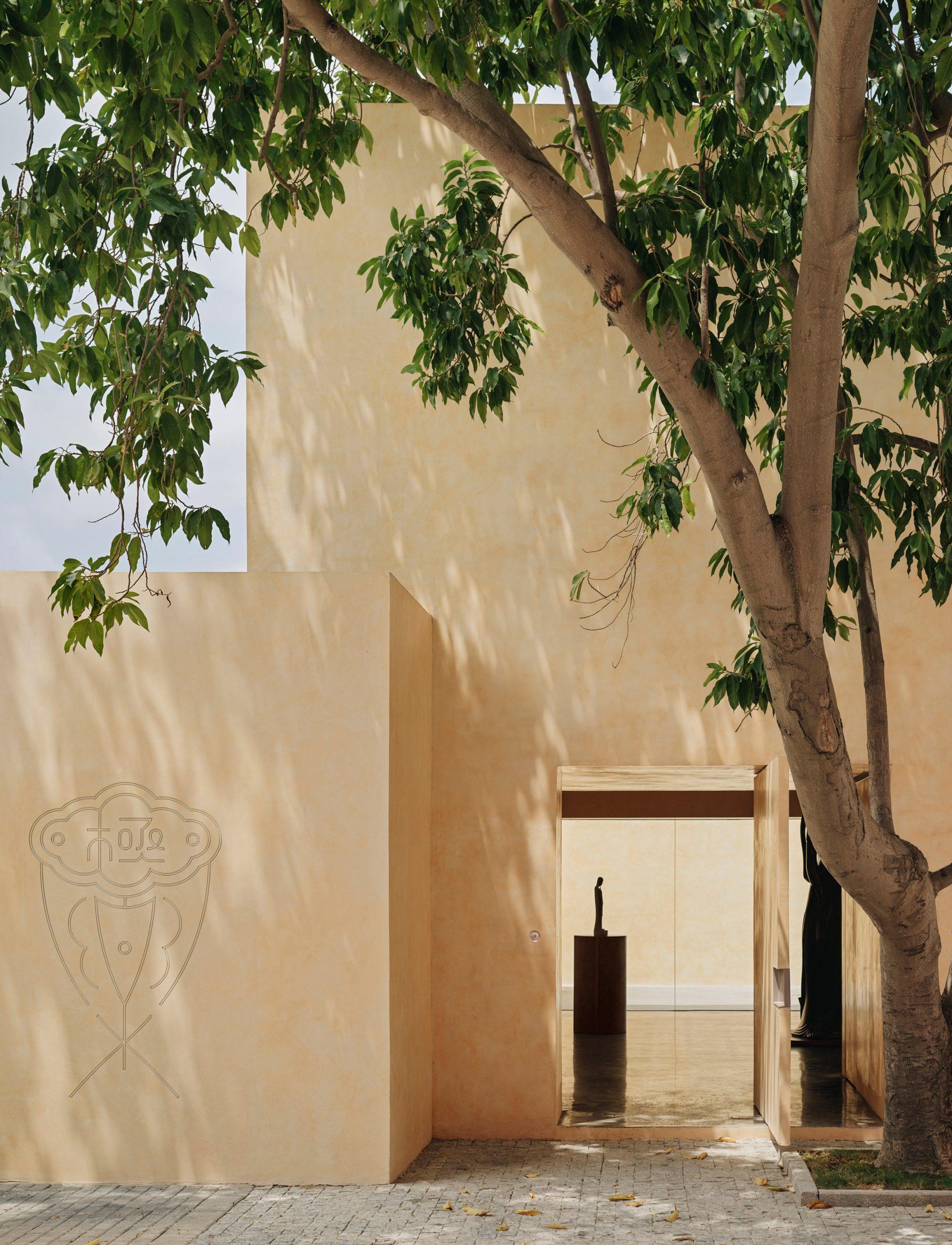 Sandalwood yellow facade of gallery