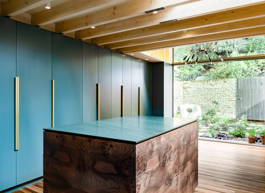 Blue cabinets in London kitchen