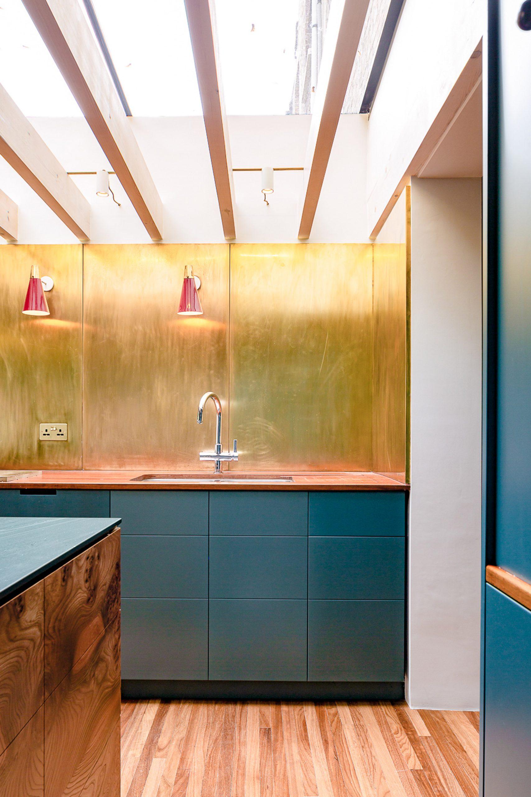 Gold backsplash in London kitchen