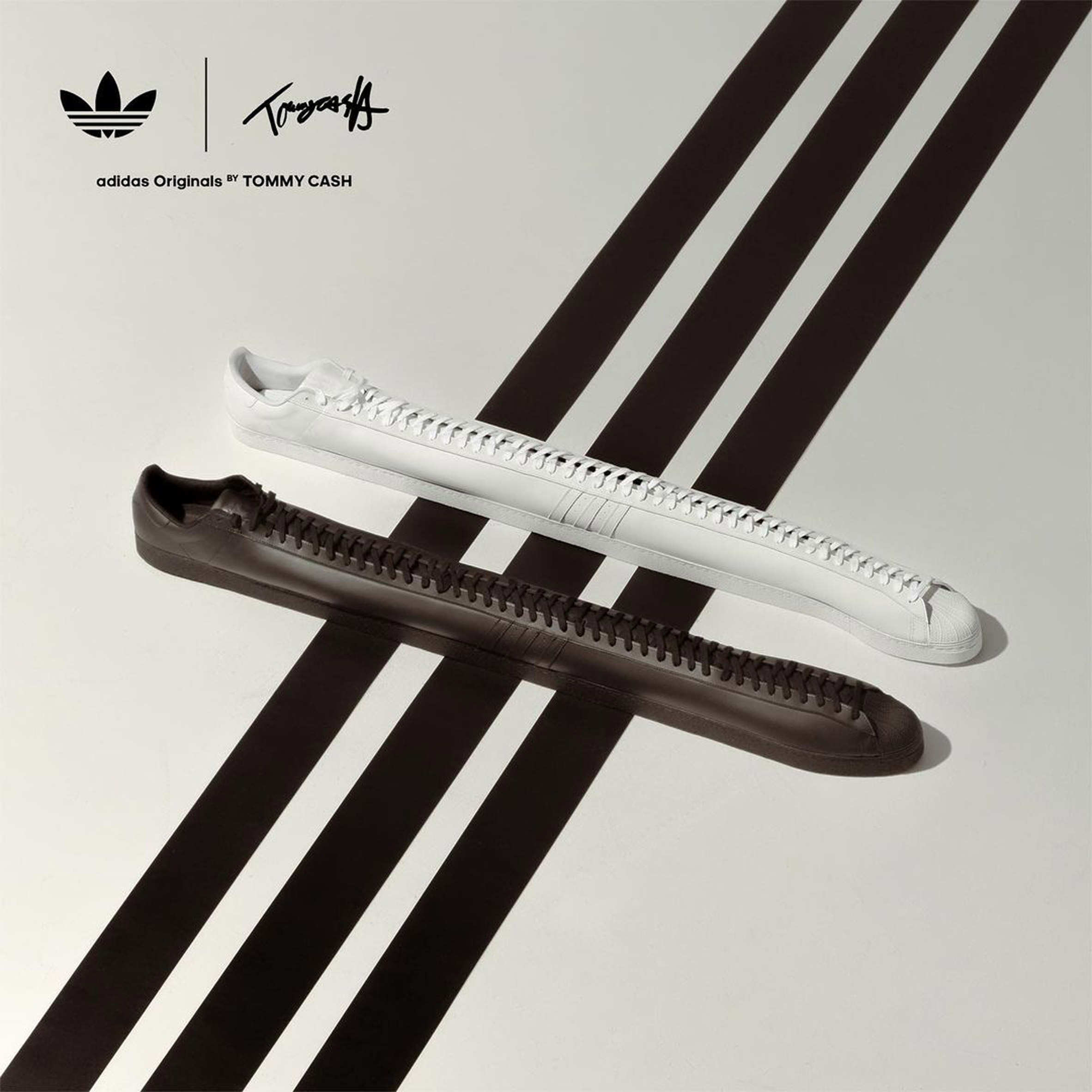 Extra long Adidas Superstar trainers