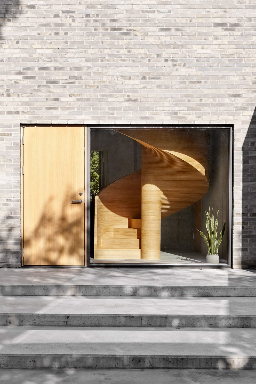Facade and spiral staircase of Tommy Rand house in Denmark