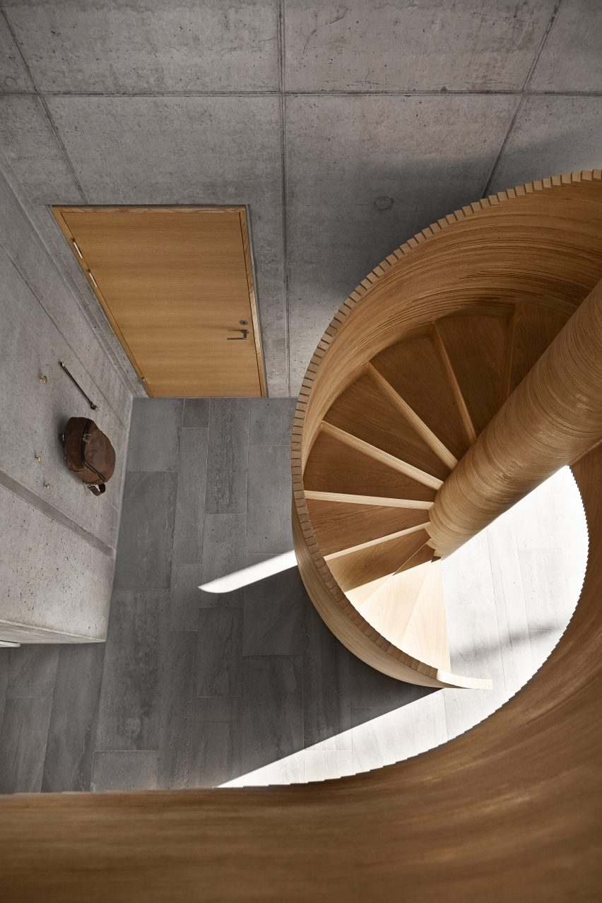 Spiral staircase in Tommy Rand house in Denmark