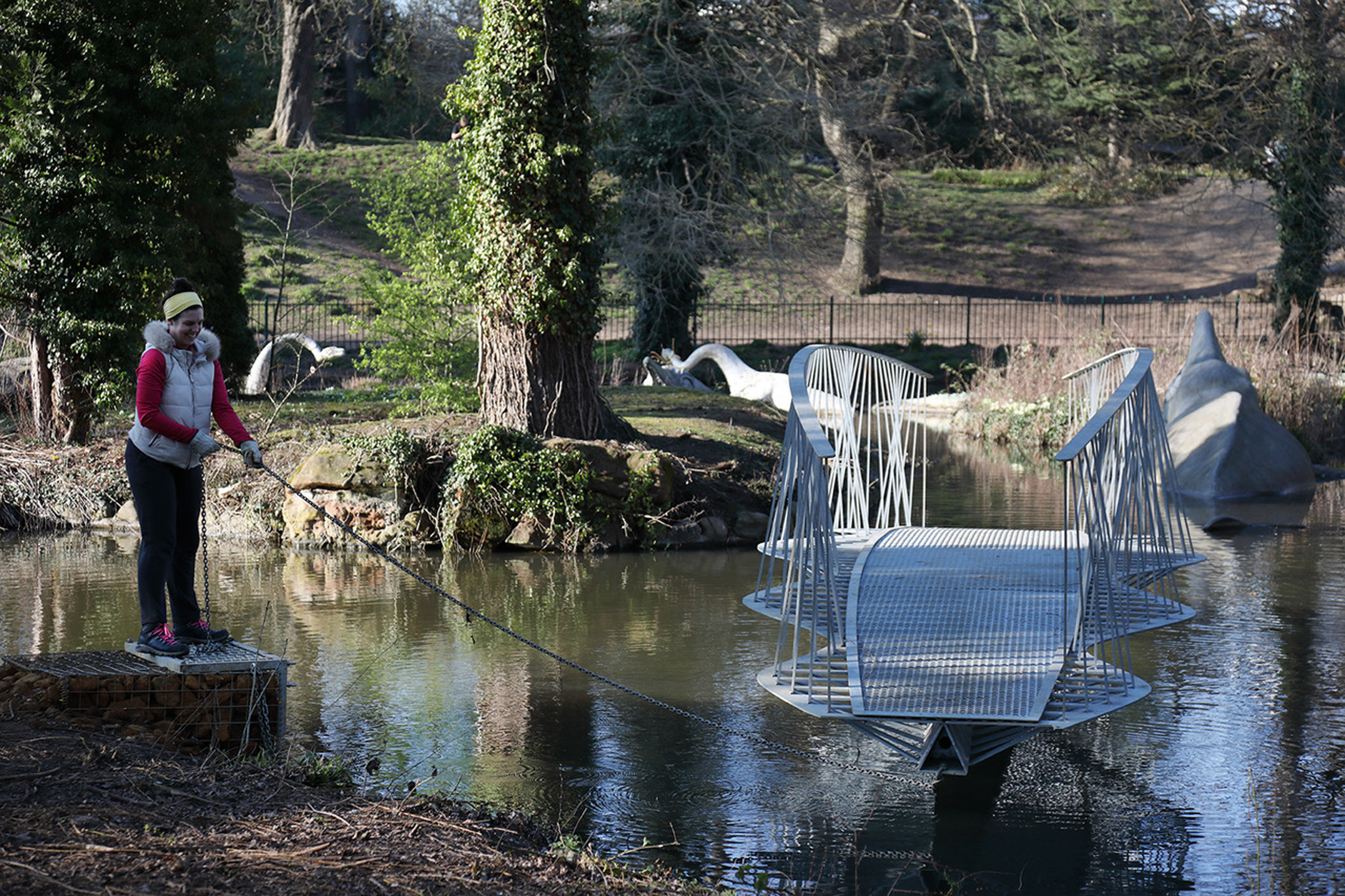 Swing bridge to Dinosaur Island in Crystal Palace Park