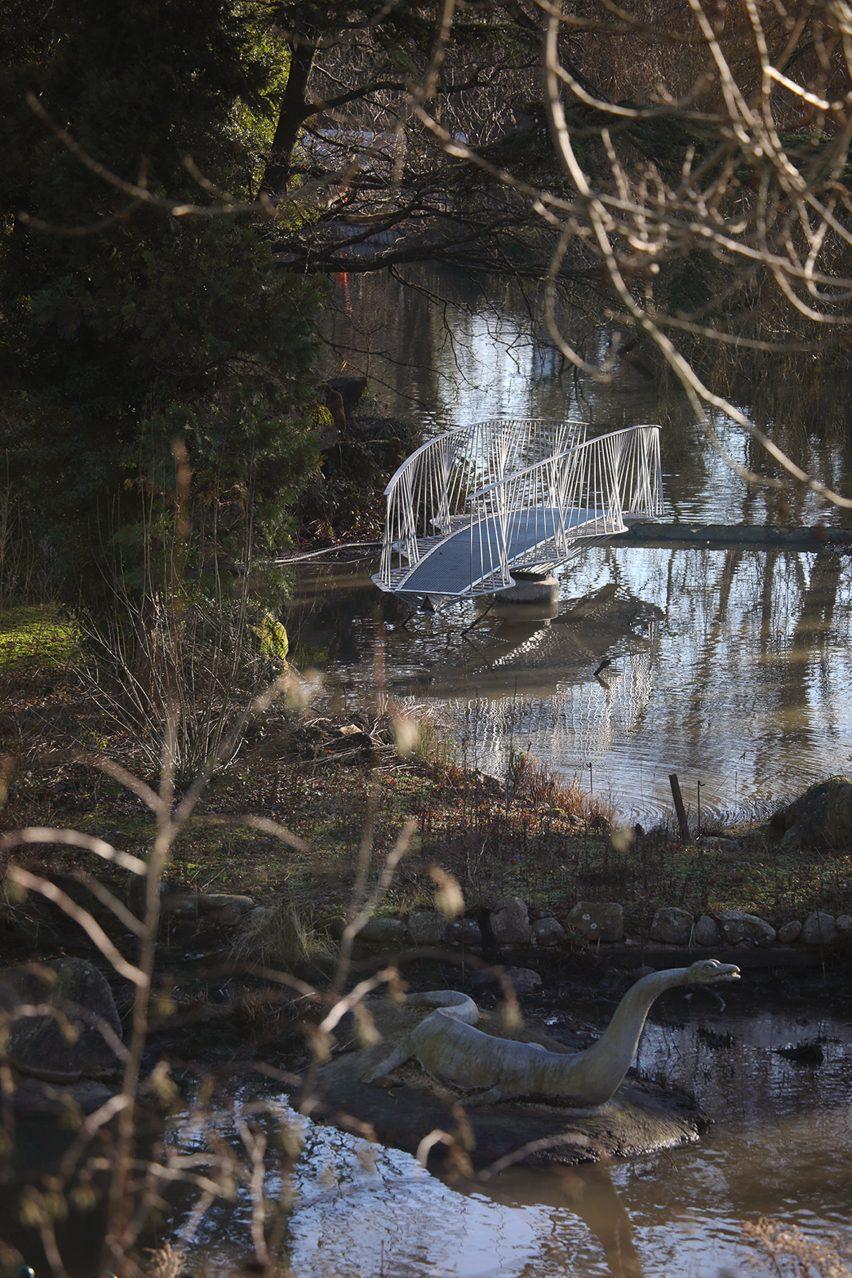 Swing bridge to Dinosaur Island in Crystal Palace Park