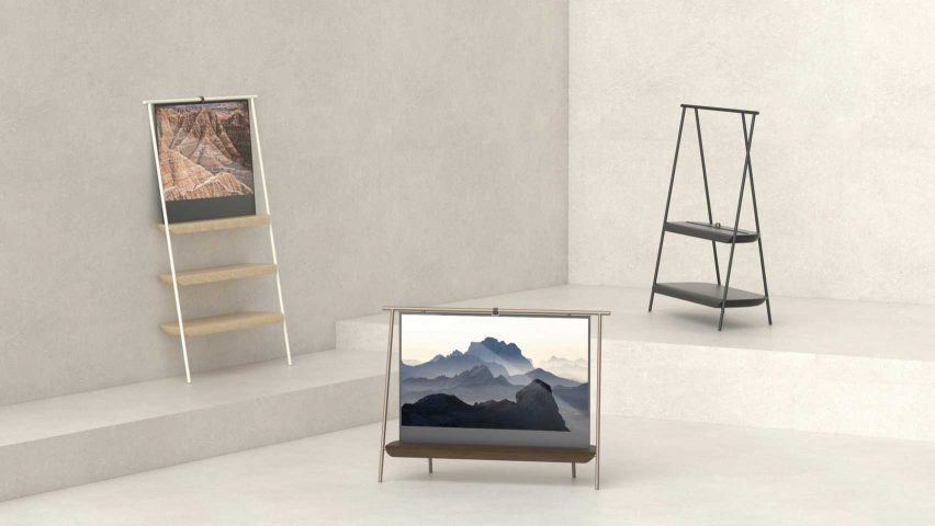 Trestle by Richard Bone shelf with embedded rolled OLED screen for the Dezeen and LG OLED Go competition