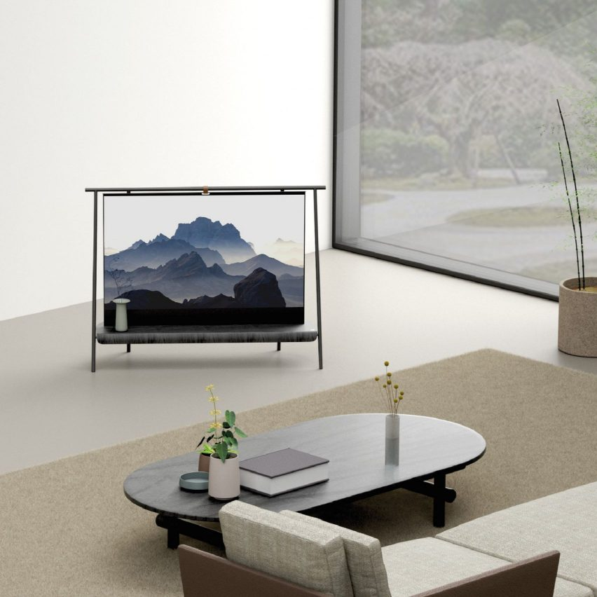 Trestle by Richard Bone rollable screen and shelf Dezeen and LG Display OLED Go competition shortlist