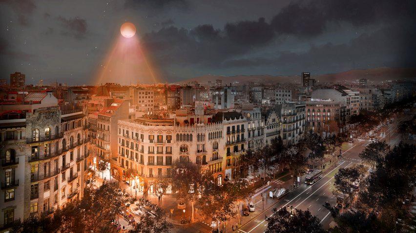 Visual of Urban Sun in a city