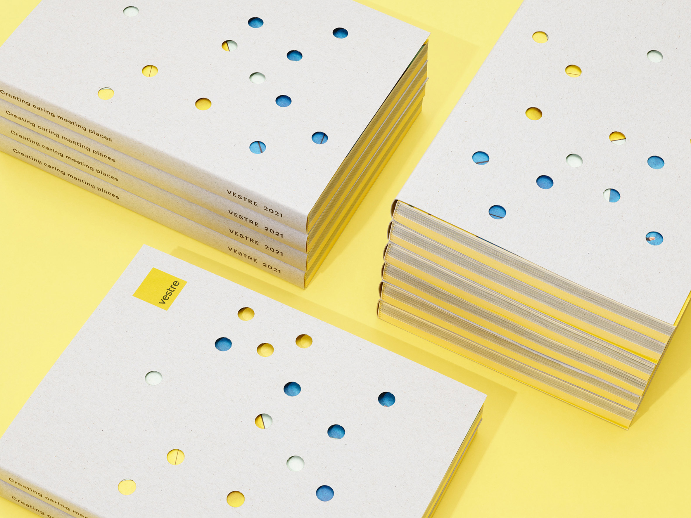 Vestre 2021 catalogue printed on FSC-certified paper with round cut-outs