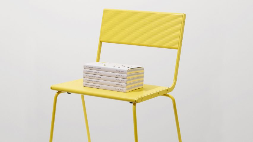 Vestre 2021 catalogue featuring EDPs for all products displayed on yellow chair