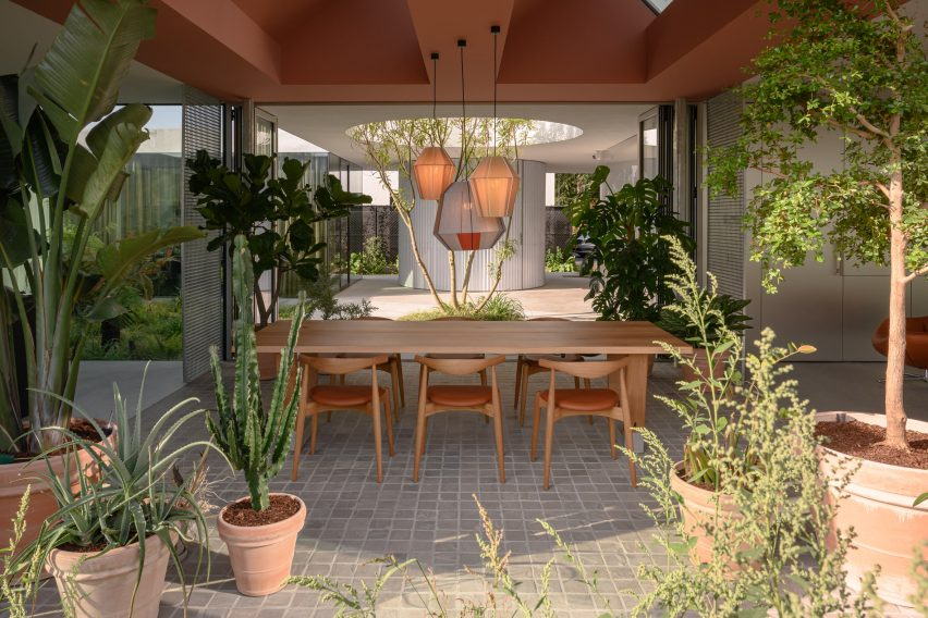 A partially-sheltered outdoor dining area