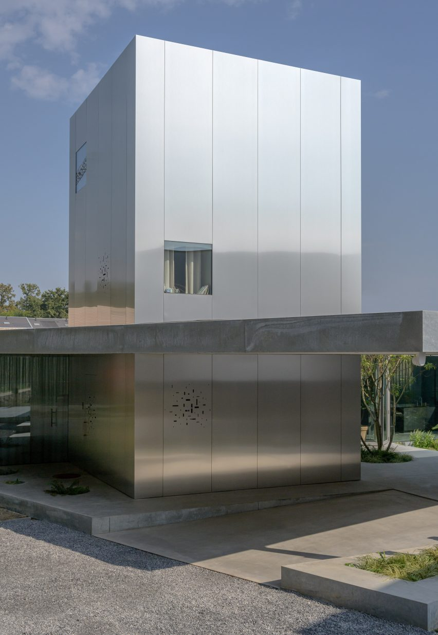 A polished-aluminium house