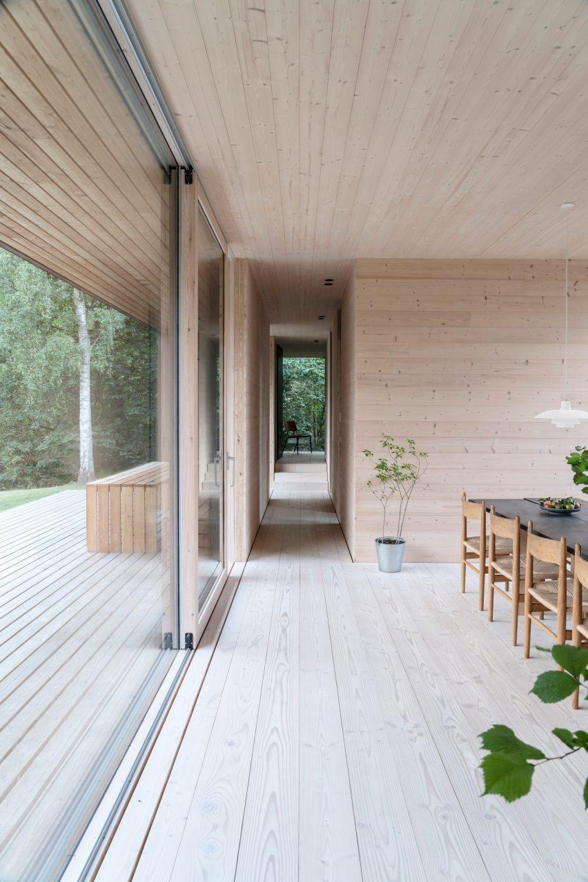 Timber-clad interior of CLT villa