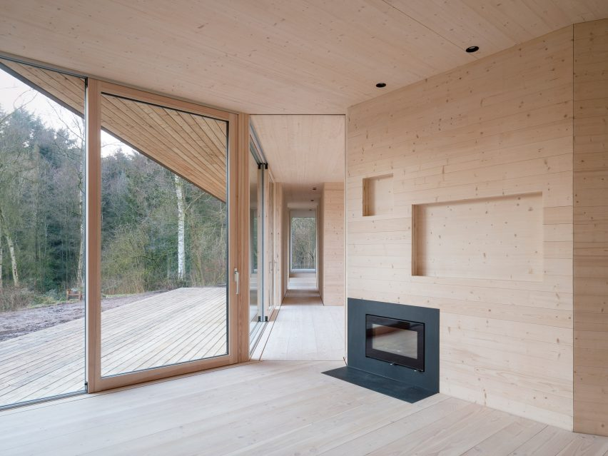 Timber home with fireplace