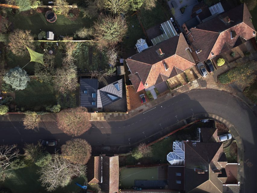 An aerial view of a black house in London