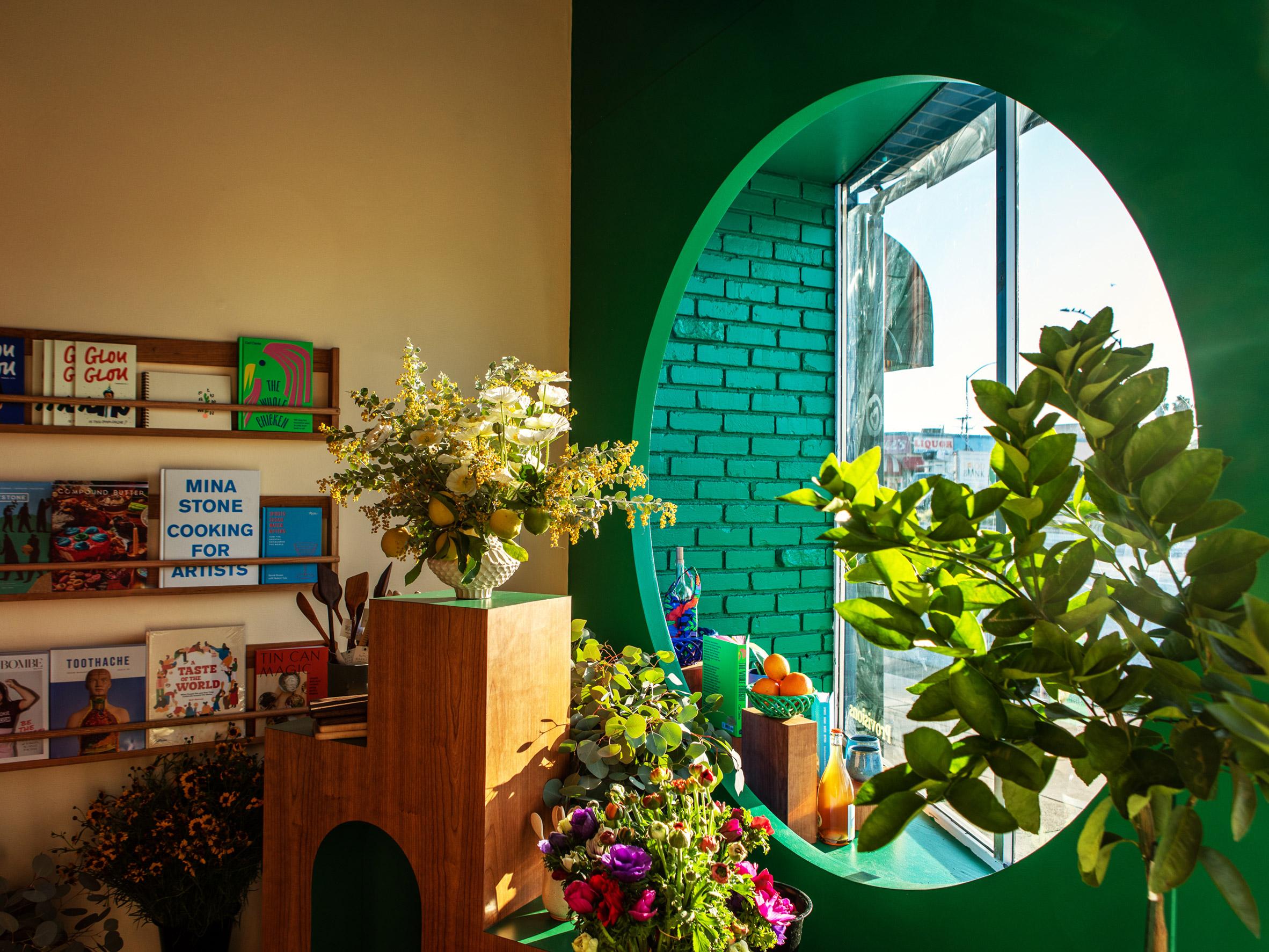 Green circular window in grocery store