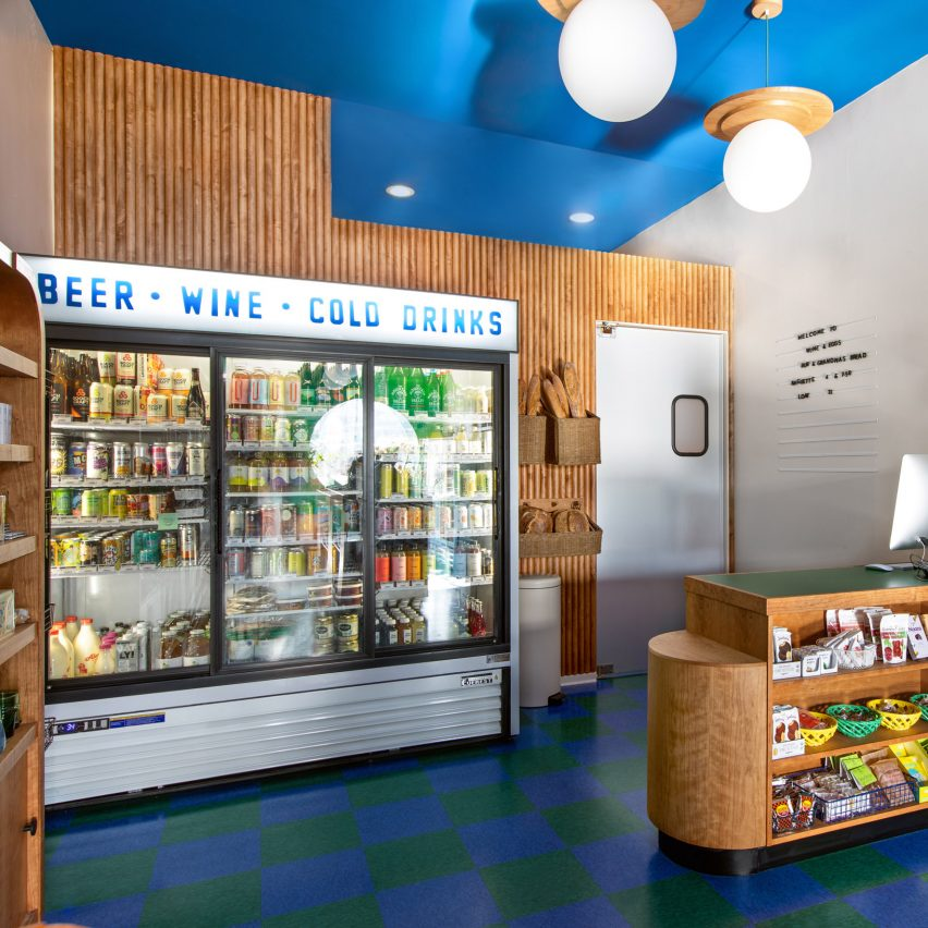 Wine and food store with cherry wood interior