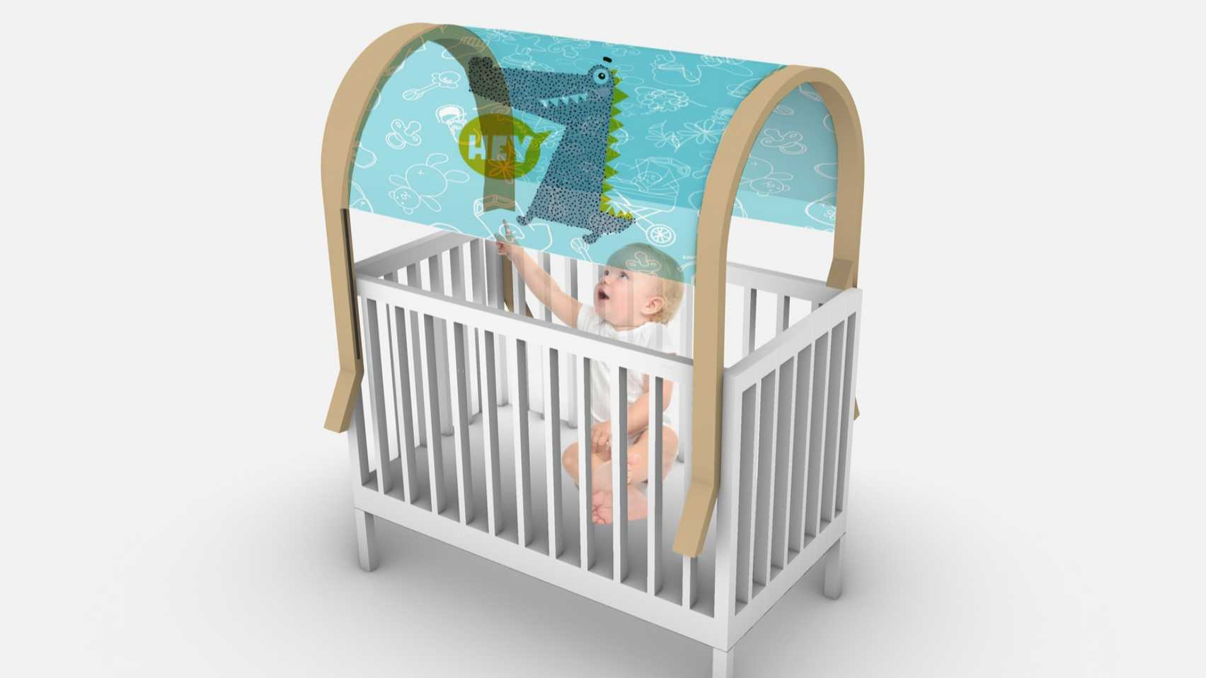 Wonderful World by Huan Khoo canopy for baby cribs on the Dezeen and LG Display OLED Go shortlist