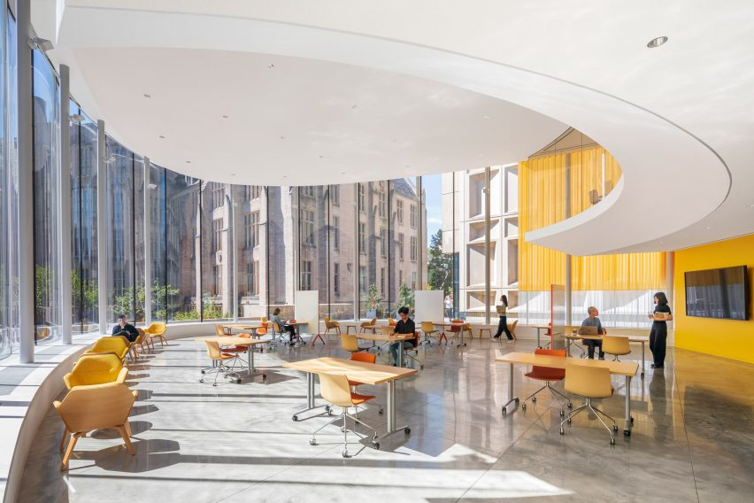 Interiors of student centre by Weiss/Manfredi