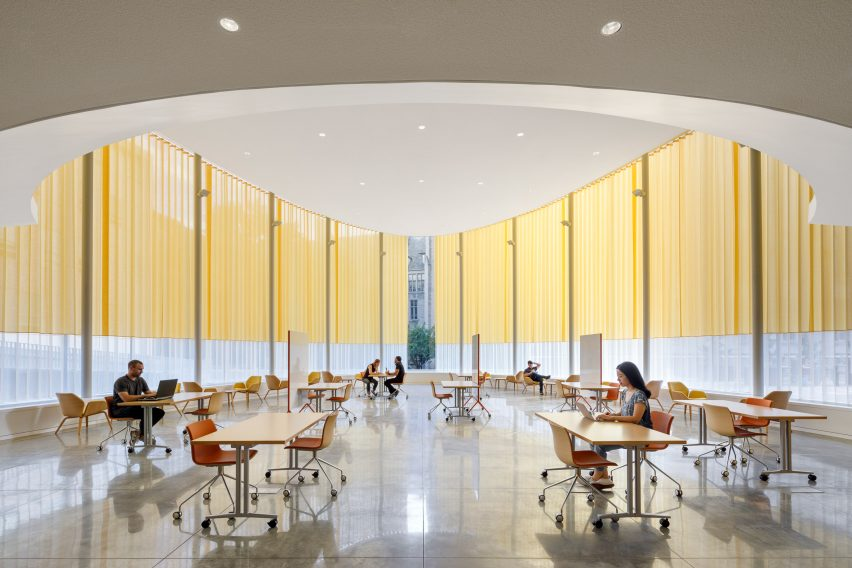 Curtains shade glass walls of pavilion by Weiss/Manfredi