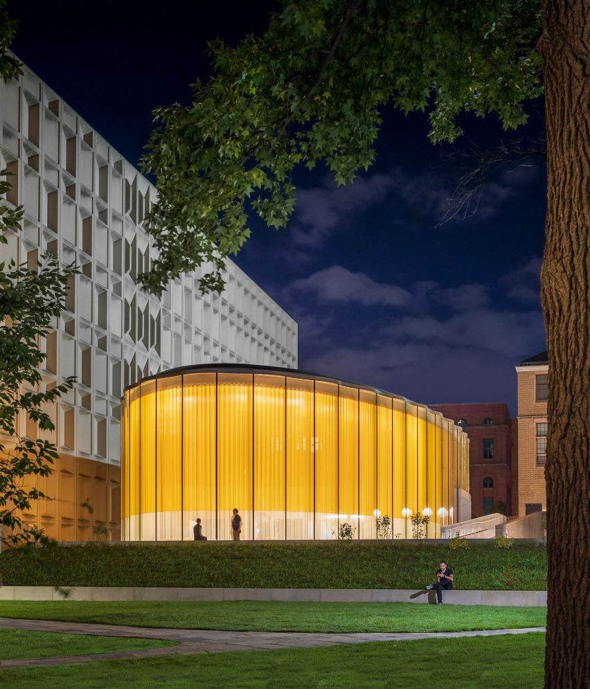 Night time view of student centre by Weiss/Manfredi