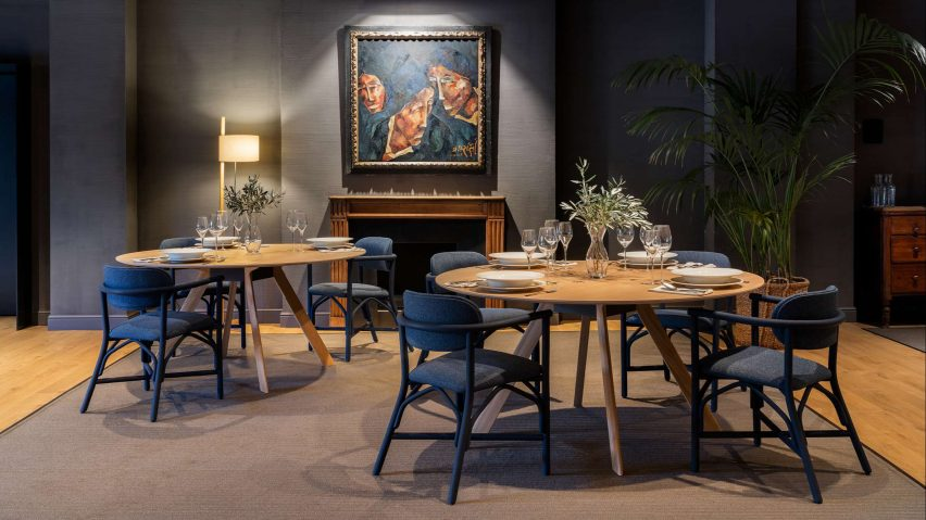 Altet chairs by Expormim arranged around two tables in a dining room setting