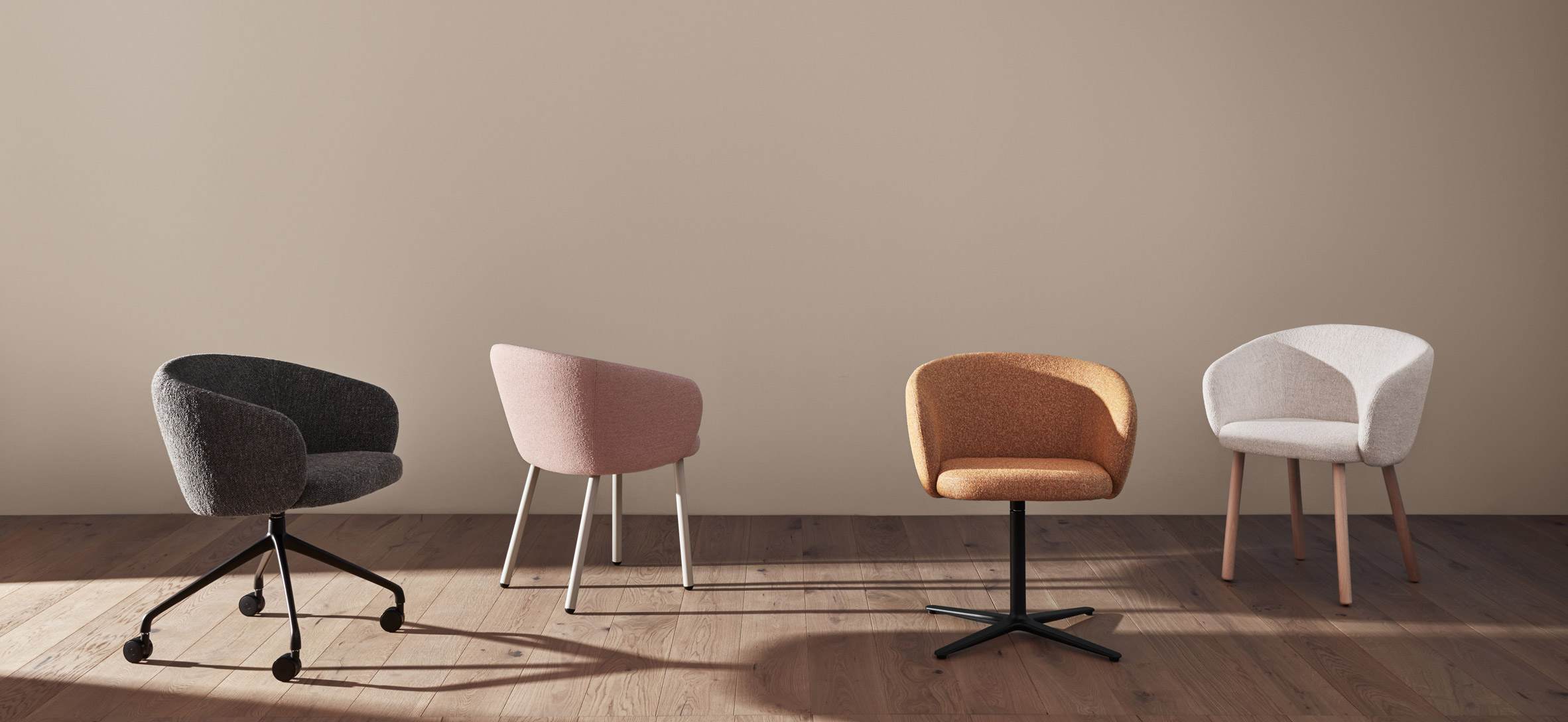 Padded armchairs by Mario Ruiz for Expormim with a swivel, caster and four-legged base