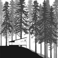 The dwellings sit within a forest