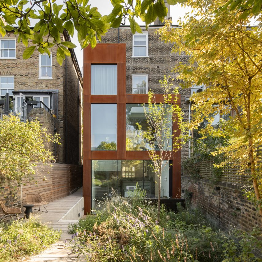 A house extension clad in weathering steel