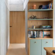 Chestnut covers the cabinetry and doors of the interior