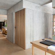 Concrete walls have a textural element