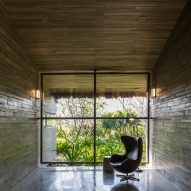 A concrete living room