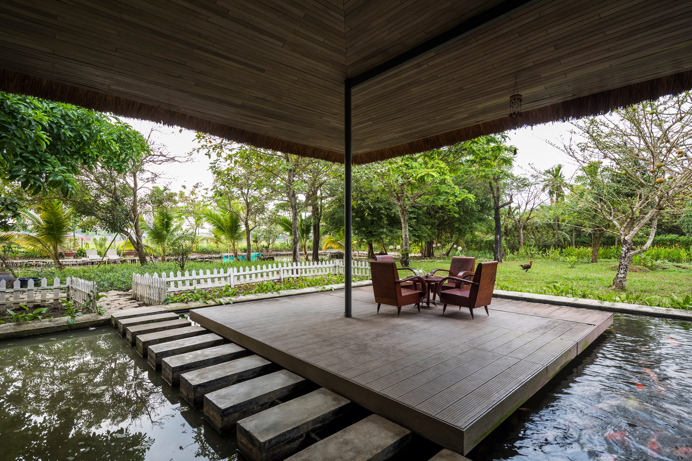 A sheltered outdoor deck
