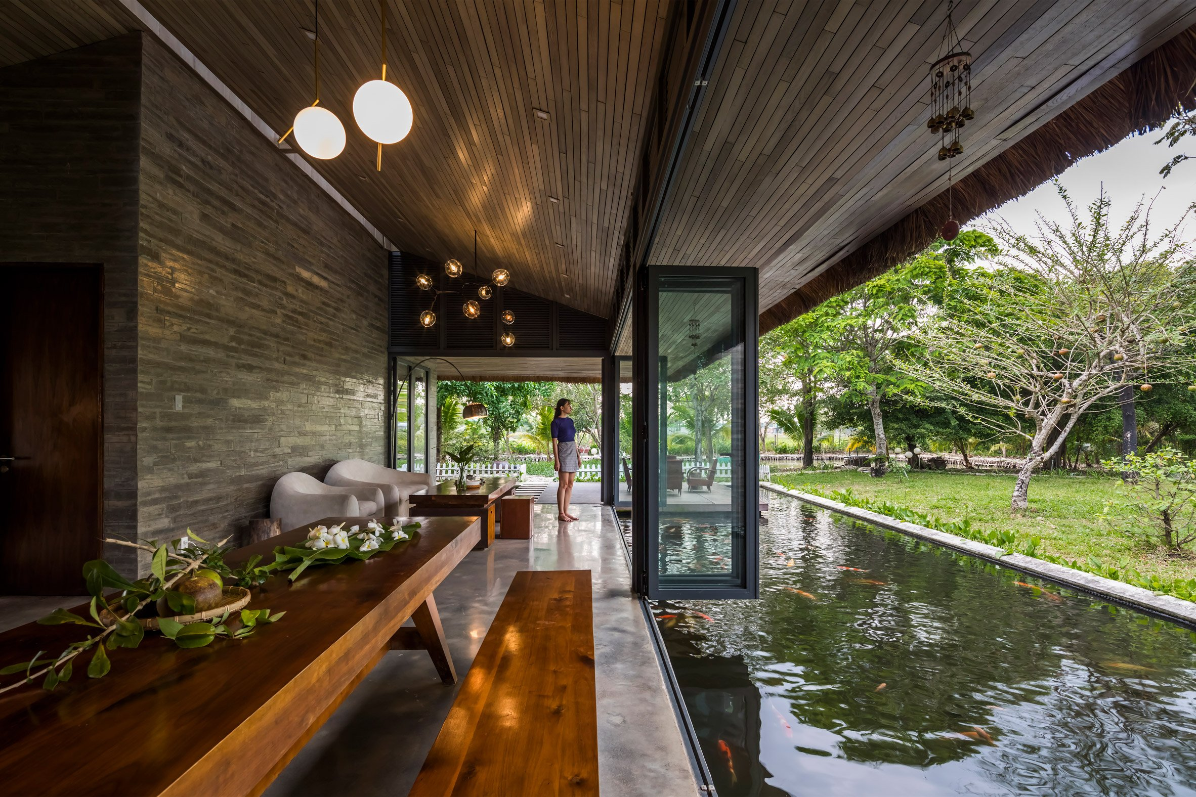 The concrete interiors of a Vietnamese holiday home