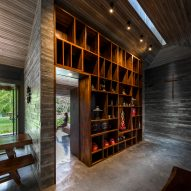 Concrete interiors with a large bookcase
