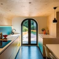 A wood-lined kitchen
