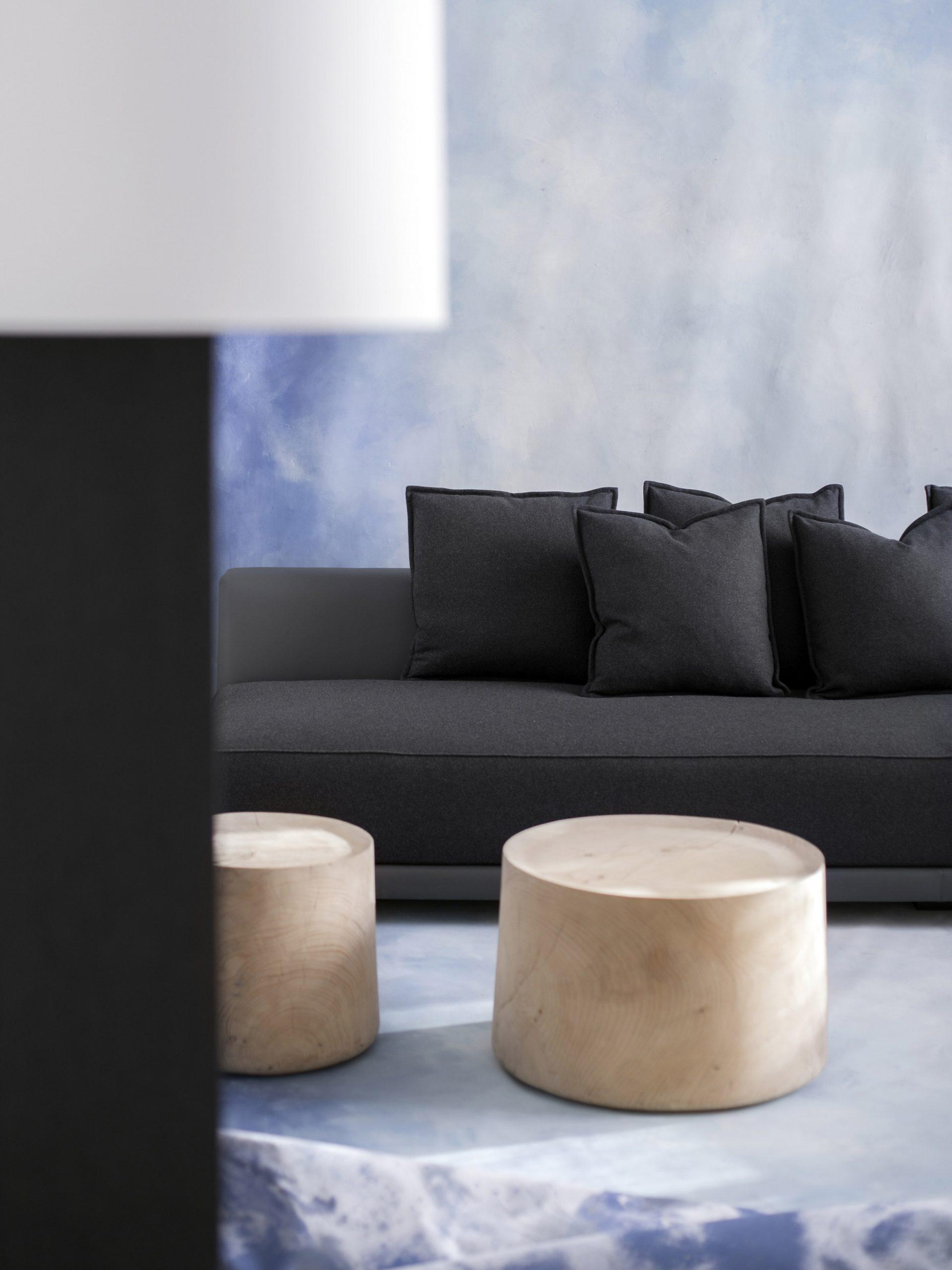 A black sofa