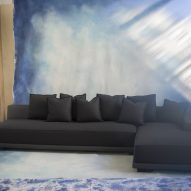 A modular sofa with fabric upholstery