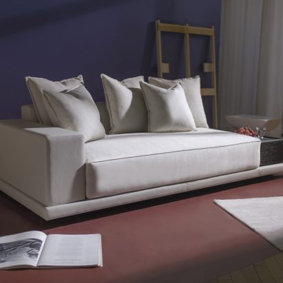 A white standalone sofa module