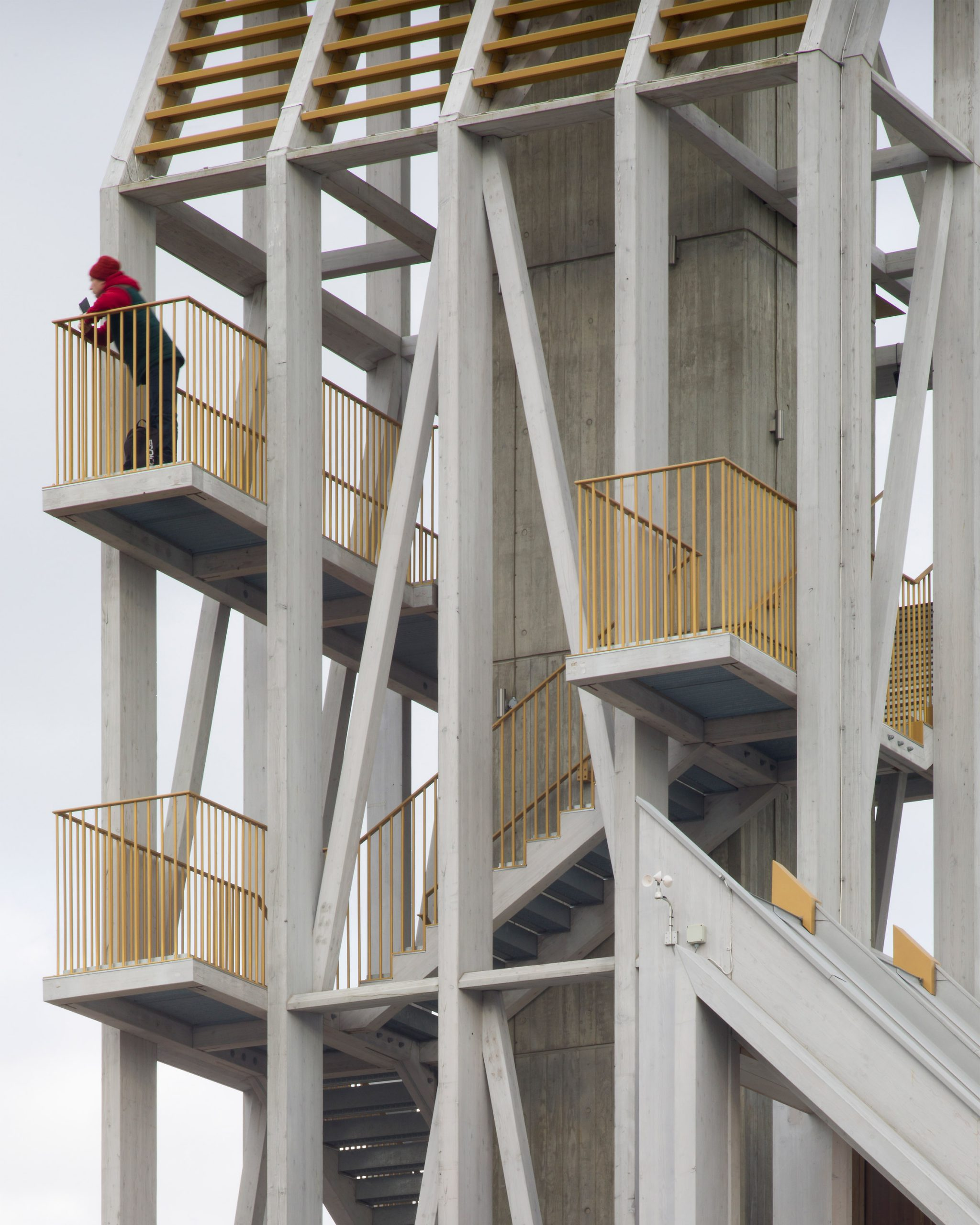A larch lookout tower with gold balconies