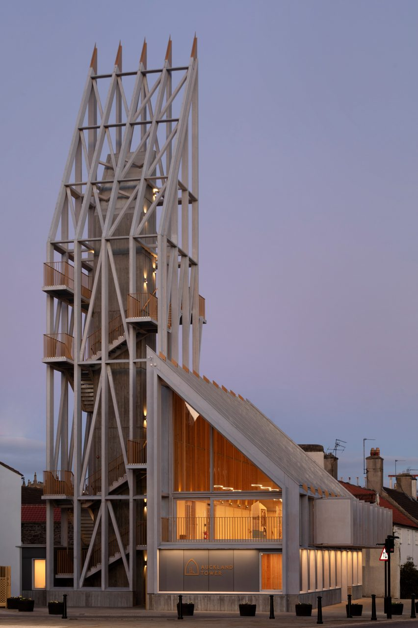 A wooden tower by Niall McLaughlin Architects