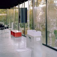 A glass-lined bathroom