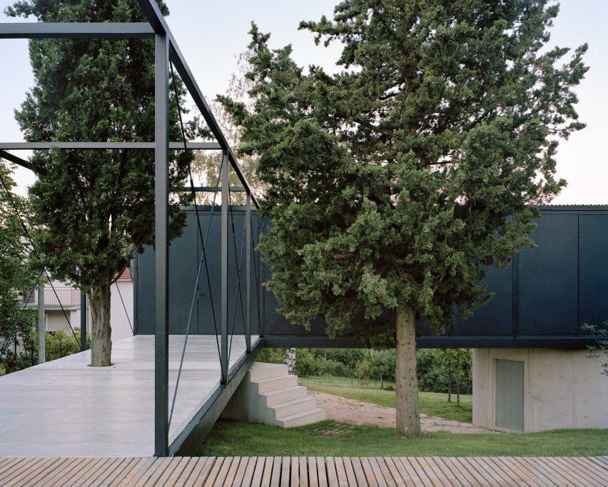 A terrace of a steel-framed house