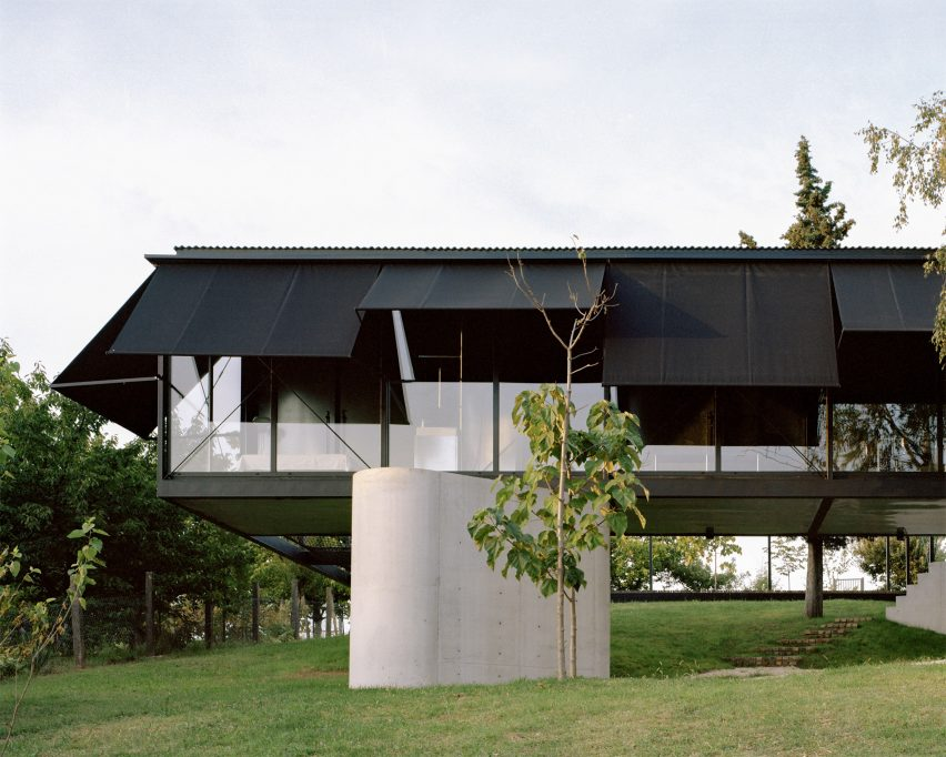 The steel and glass exterior of Avala House
