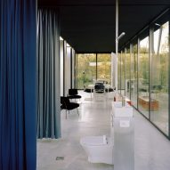 Glass-lined house interiors