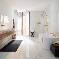 A white marble bathroom