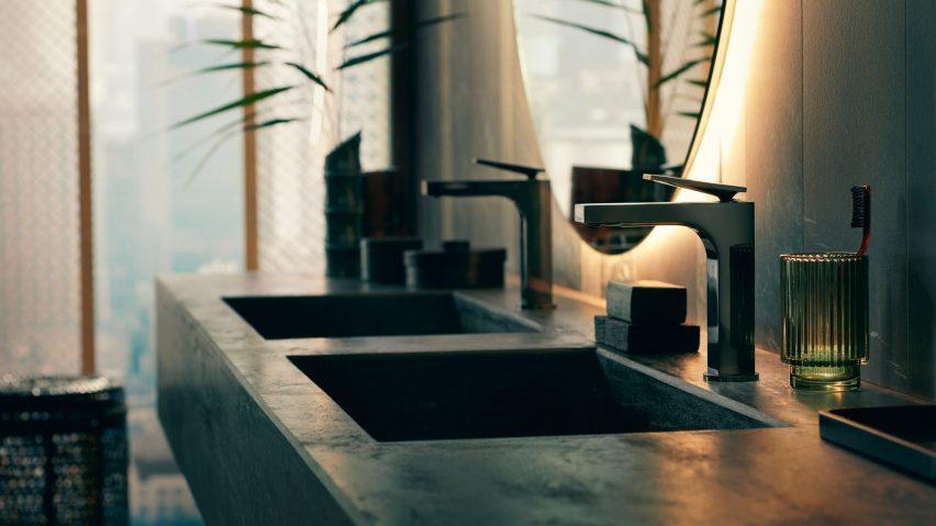 A dark bathroom featuring Axor taps