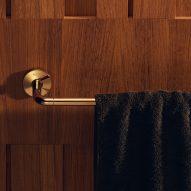 A gold towel rail