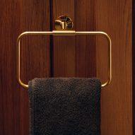A gold towel holder